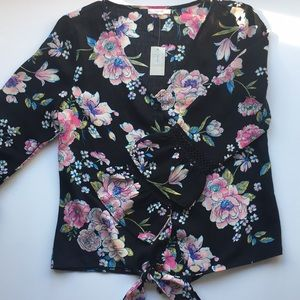 NWT Maurices Floral Bell Sleeve Top